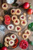 Blood orange cookies (Linzer type)