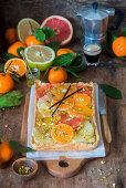 Cirtus tart with vanilla and quark filling