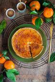 Tangerine brulee tart sliced