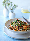 Chinese style noodles with vegetables and minced meat