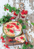 Currants pie with cottage cheese and streusel