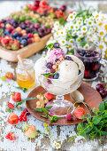 Honey ice cream with berries