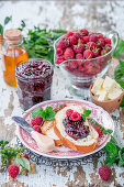 Raspberry jam with honey and mint