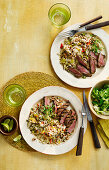 Grilled beef with Jamaican rice