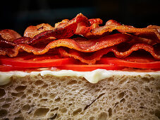 An open bacon and tomato sandwich with butter on white bread