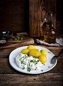 Potatoes and cotagge cheese polish tradicional dish