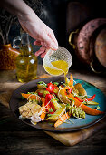 Rosted wegetables and honey vinegrett