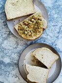 Vegan chuna mayo sandwich - 'tuna' mayo (chickpea mayo sandwich filler)