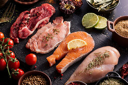 Flat lay of proteins surrounded by spices and seasonings on table