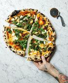 Pizza with Cavolo nero and confit garlic