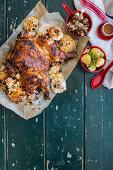 Spicy peanut and ponzu butterflied chicken