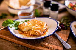 Greek Feta parcels with honey and sesame