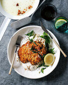 Curry crumbed chicken schnitzel with Greek yogurt
