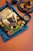 Roast chicken with hot cross bun stuffing