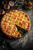 An Easter breakfast pie with spinach and ricotta