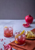 Grappa, ginger and pomegranate cocktail