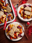 Pork Chop Vegetable Traybake