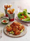 Salmon fishcakes with tomato red pepper tartar sauce