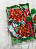 Indian lamb Pasanda with red lentils, kale and chickpeas