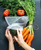 Zero Waste Food Storage: Eco Bag with carrot, tomatoes