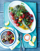 Flathead with confit tomatoes and sauce vierge
