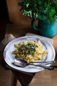 Tagliatelle with pesto verde
