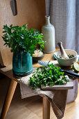 Ingredients and utensils for making pesto verde