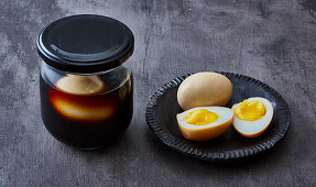 Pickled eggs for ramen bowls