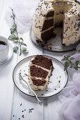 Chocolate Bundt cake with soya vegan eggnog cream
