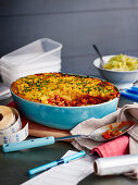 Cottage pie with turnip and mashed potatoes