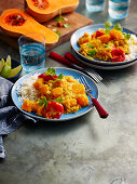 Pumpkin and tomato dal with rice (India)