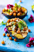 Barbecued avocado with chickpeas and yogurt