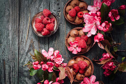 Chocolate tartlets with raspberries