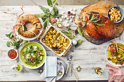 Christmas menu with glazed ham and herb butter smashed potatoes