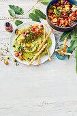 Pistachio and white bean dip with tomato salad