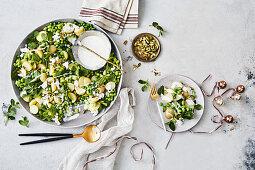 Potato, pea and mint salad creamy yoghurt dressing