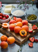Ingredients for apricot and strawberriy crumble