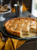 Briket Halib (filo pastry cake with almonds and cream filling, Tunisia)