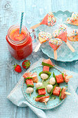 Melon and mozzarella skewers, melon smoothie, melon ice cream
