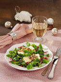 Lamb's lettuce salad with gratinated feta cheese