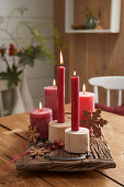 Christmas arrangement with red candles