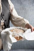 Bread dough in a basket