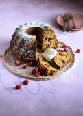 Raspberry and cocoa Bundt cake