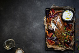 Linefish with chermoula and roasted root vegetables