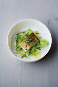 Whitefish with coriander ducca and lime fennel