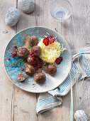 Swedish meatballs with mashed potatoes, beetroot crisps and lingonberries
