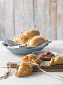 Salmon pasties with cranberry mustard