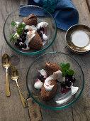 Irish coffee mousse with cinnamon cream and amarena cherries