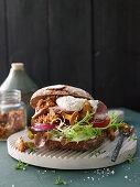 Autumnal veal burger with mushroom tartare