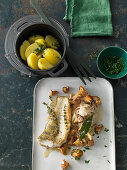 Fried zander fillet with cream chanterelle mushroom and cabbage, and parsley potatoes